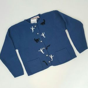 50s vintage ghostly Halloween cardigan sweater L